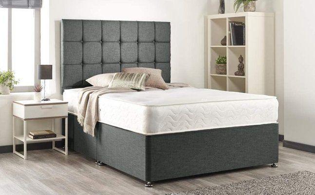 Grey Linen Memory Foam Divan Bed