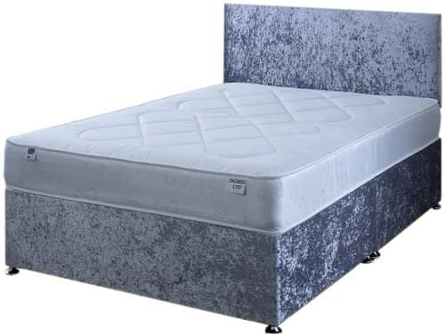 4FT6 Double Silver Crushed Velvet Divan Bed