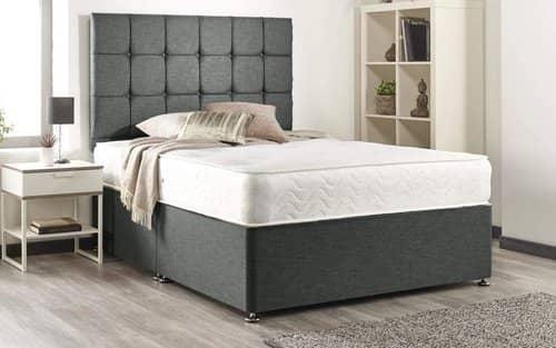 Bed Centre Grey linen Memory Foam Divan Bed