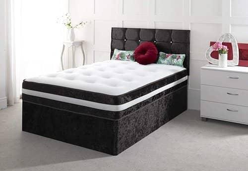 Crushed Velvet 4FT6 Double Divan Bed