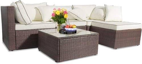 Recaceik 5 Pieces Outdoor Rattan Garden Furniture Set