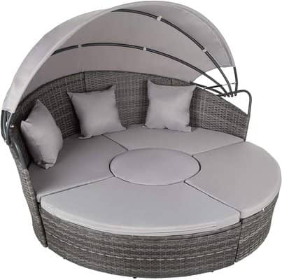 TecTake 800339 Bed Island Aluminium Rattan Sun Lounger