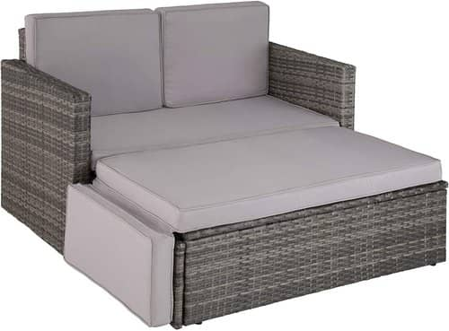 TecTake 800693 Rattan Lounge Sofa